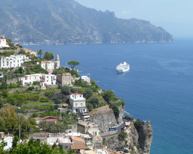 Amalfi Coast view, with cruise ship