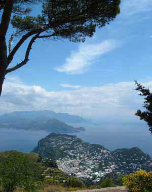 Capri seen from Monte Solaro, with the Sorrentine Peninsula in the background