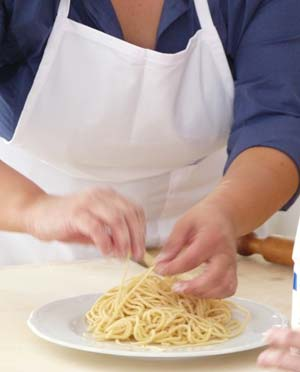 Making pasta: a cookery demonstration