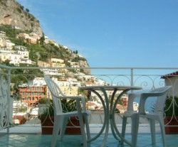Our breakfast terrace at the Royal Prisco, overlooking Positano