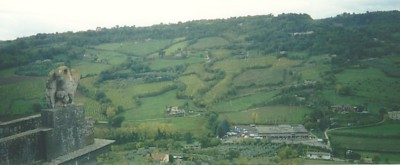 View over the green landscape of Umbria, from Orvieto
