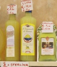 Souvenir limoncello, priced in sterling for British tourists