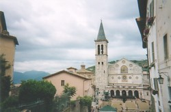 Duomo, Spoleto, with the piazza laid out for a concert