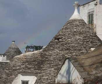 Rainbow over trulli, Alberobello