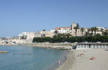 Beach at Otranto, with the old town in the background
